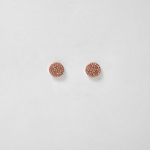 Rose gold tone rhinestone circle stud earrings