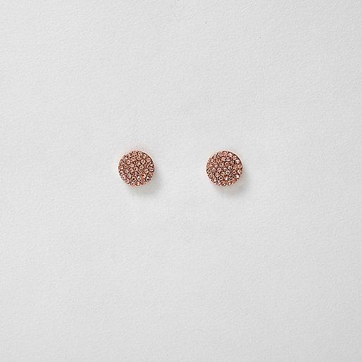 Rose gold tone rhinestone circle stud earrings