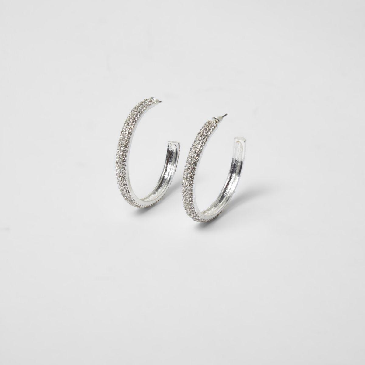 Silver tone chunky rhinestone hoop earrings