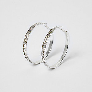 Silver tone diamante encrusted hoop earrings