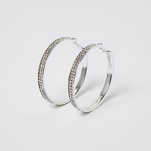 Silver tone diamante encrusted hoop earrings
