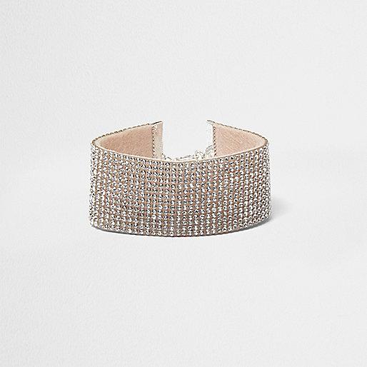 Silver tone diamante bracelet