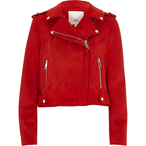 Faux faux suede biker jacket