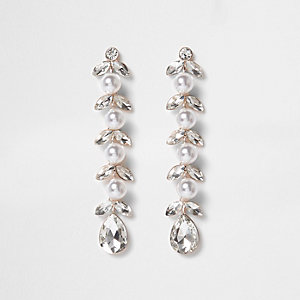 Silver pearl leaf drop earrings