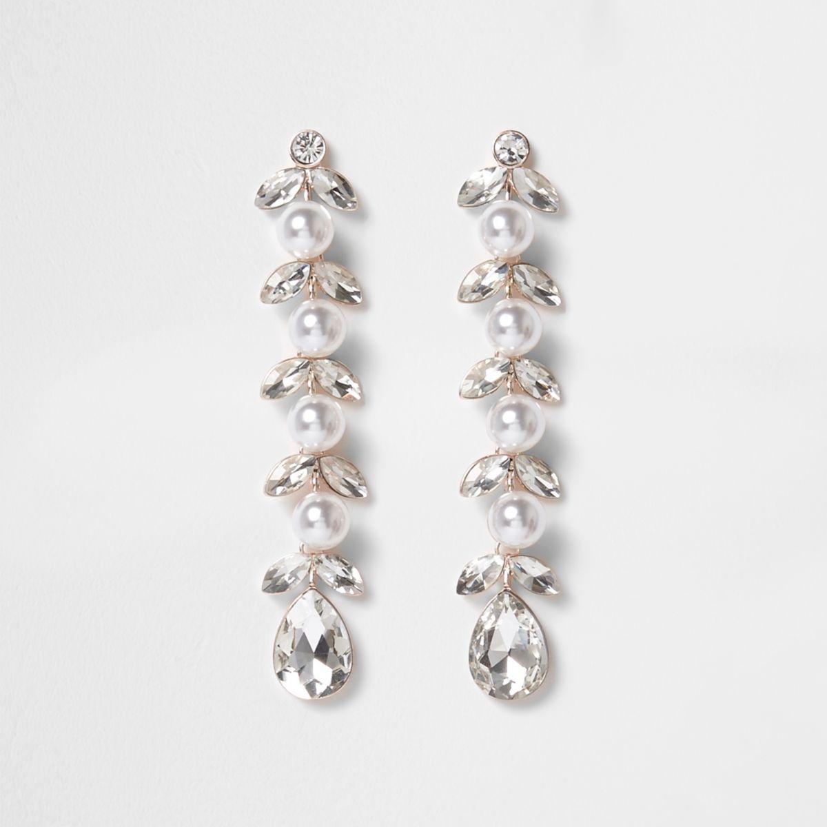 Silver pearl leaf drop earrings