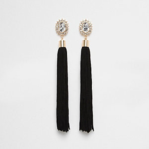 Black tassel rhinestone dangle earrings