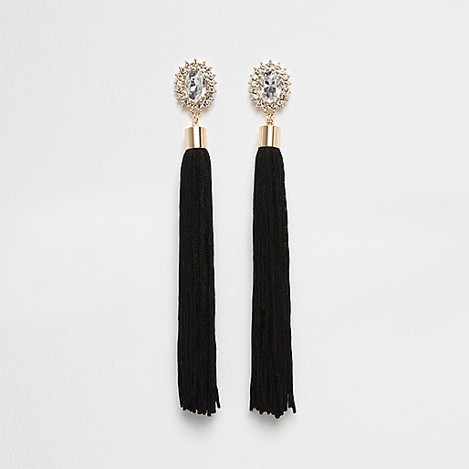 Black tassel diamante dangle earrings