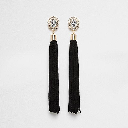 Black tassel rhinestone dangle earrings