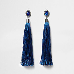 Blue tassel rhinestone dangle earrings