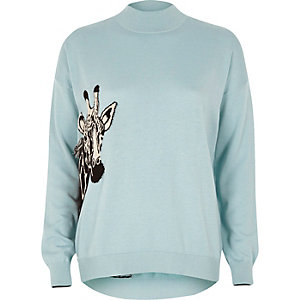 Light blue giraffe turtle neck sweater