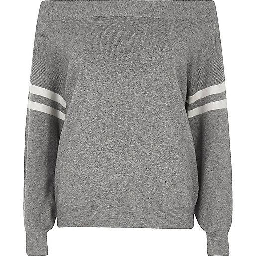 Grey stripe sleeve knitted bardot top