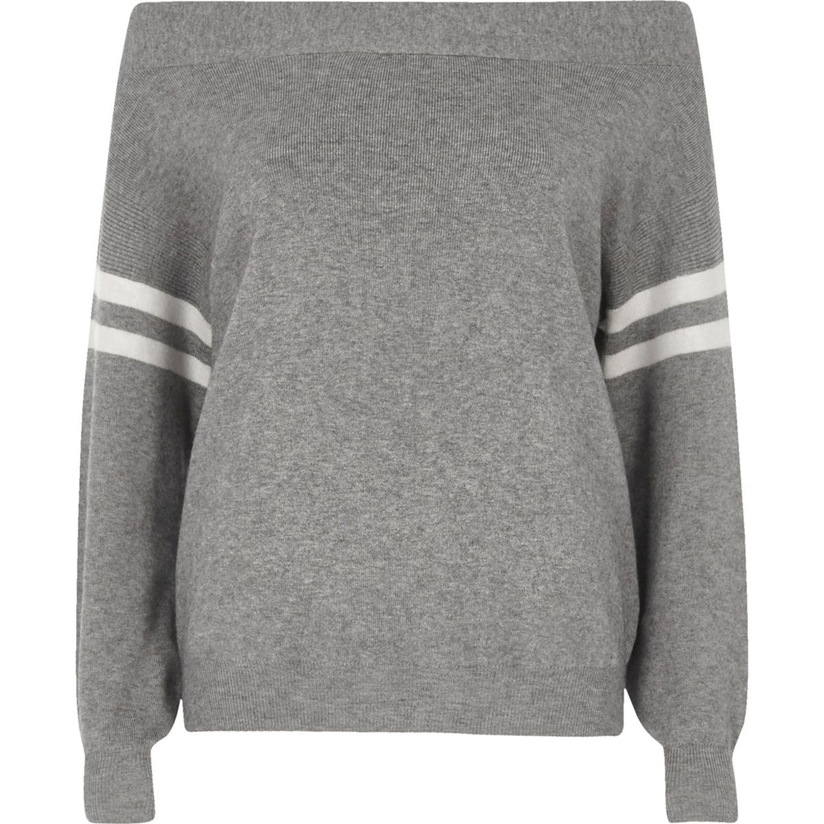 Grey stripe sleeve knitted bardot top