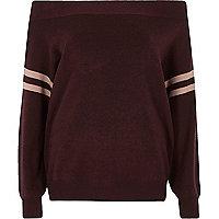 Dark purple stripe sleeve knitted bardot top