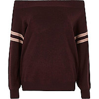 Dark purple stripe sleeve knitted bardot top