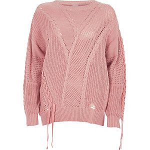Light pink ladder knitted tie detail jumper