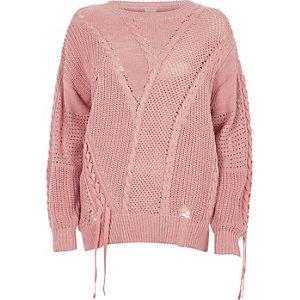 Light pink ladder knitted tie detail jumper