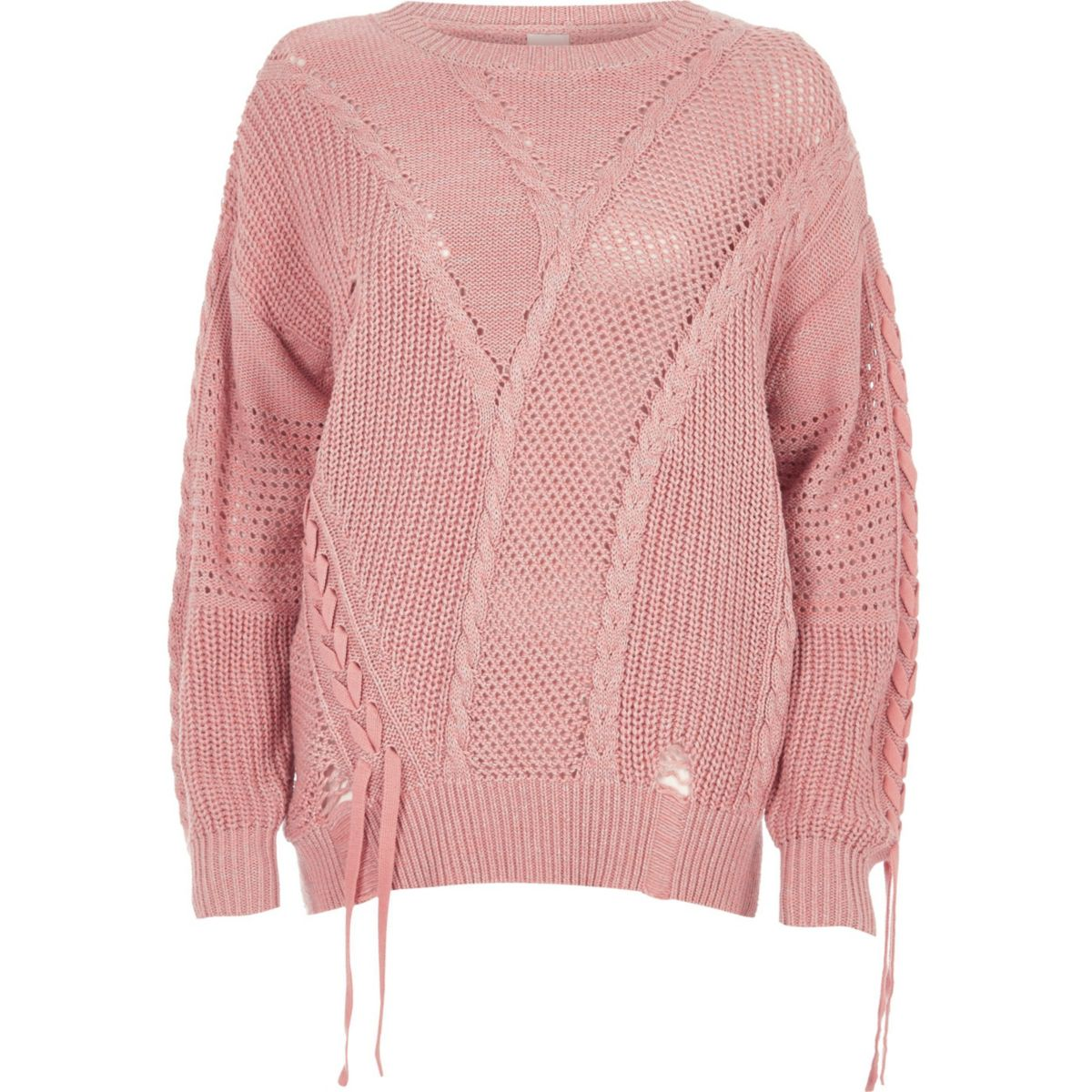 Light pink ladder knitted tie detail sweater