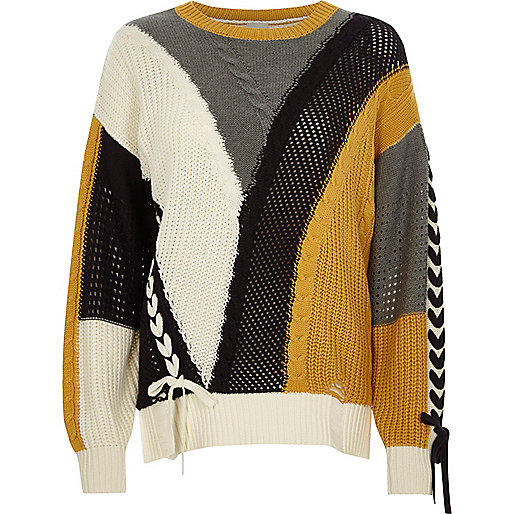 Cream colour block ladder lace-up jumper