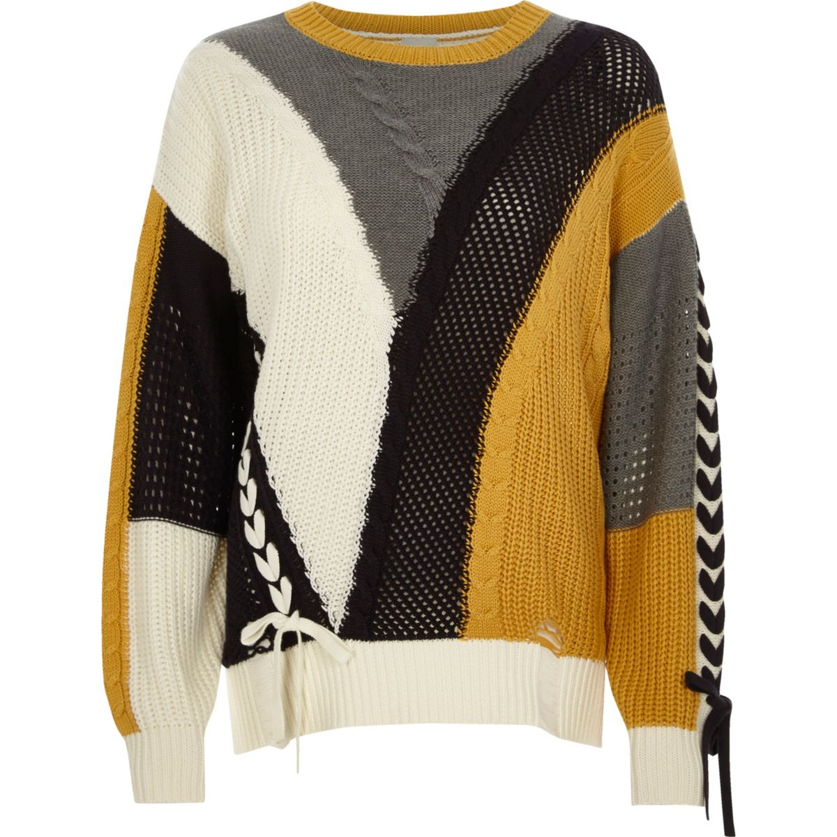 Cream color block ladder lace-up sweater