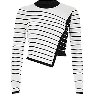 White asymmetric stripe panel knit sweater