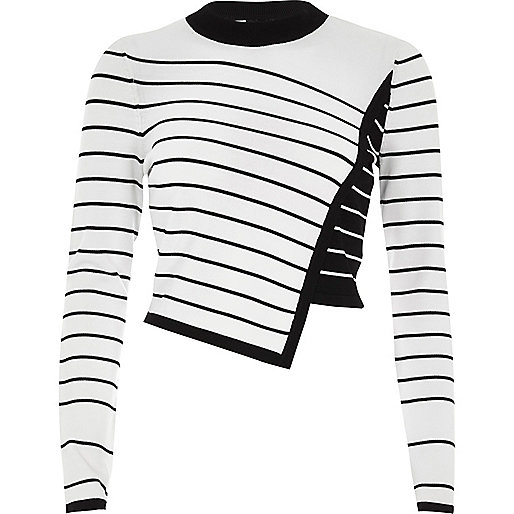 White asymmetric stripe panel knit jumper