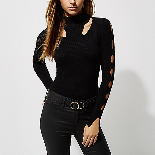 Black rib knit cut out high neck top