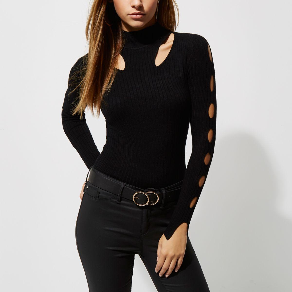Black rib knit cut out high neck top