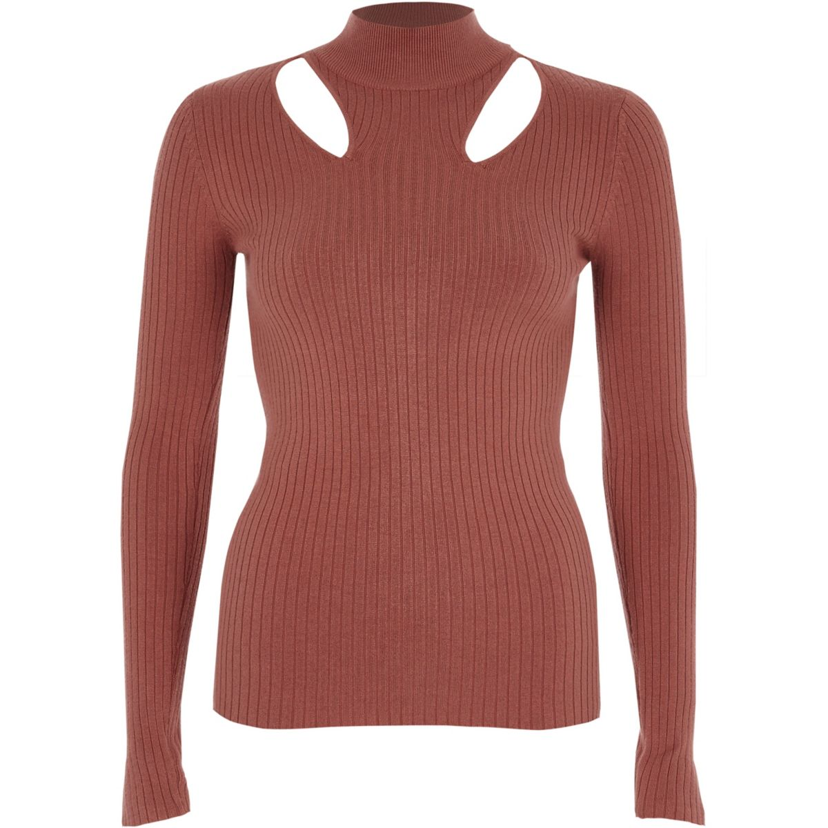 Pink rib knit cut out high neck top