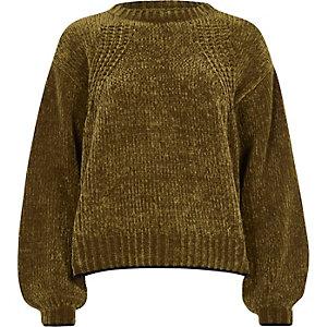 Olive green balloon sleeve chenille sweater