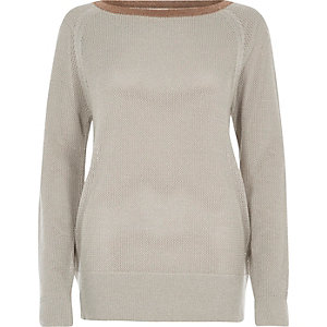Silver tipped raglan sleeve sweater