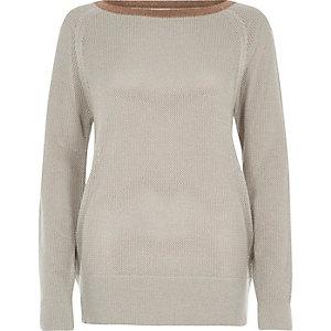 Silver tipped raglan sleeve sweater