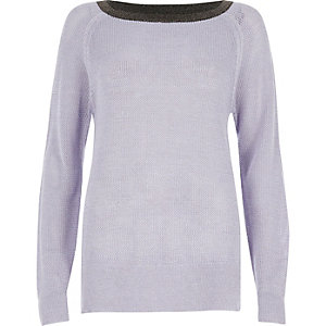 Lilac tipped raglan sleeve sweater