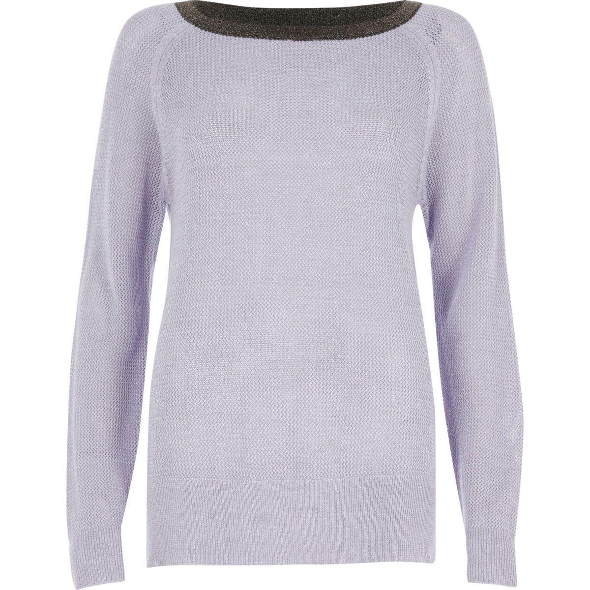 Lilac tipped raglan sleeve jumper