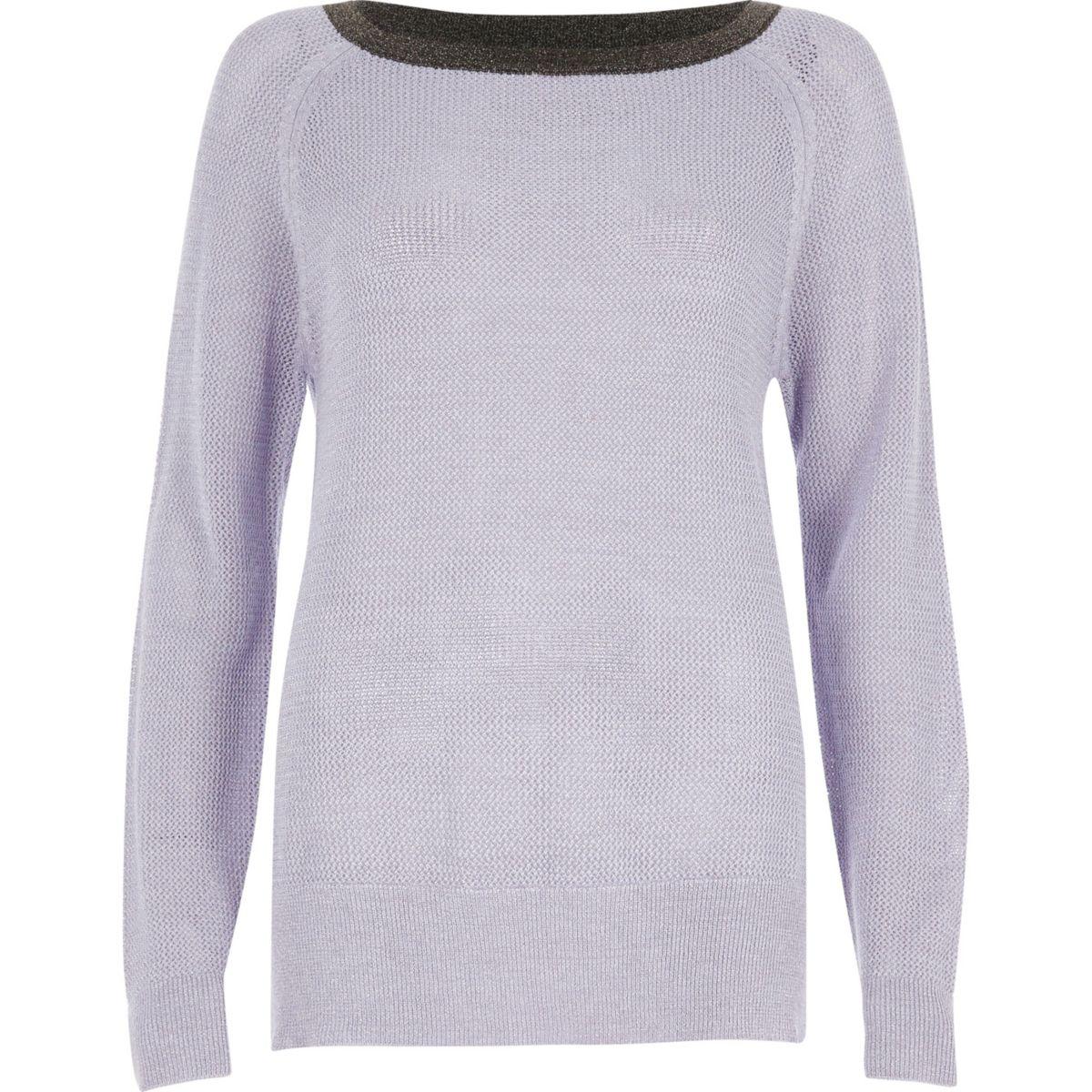 Lilac tipped raglan sleeve sweater