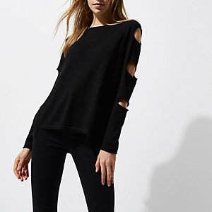 Black knit slash sleeve ladder back sweater