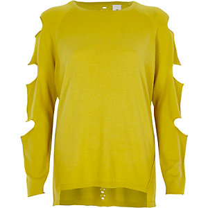 Limettengrüner Pullover mit geschlitztem Ärmel