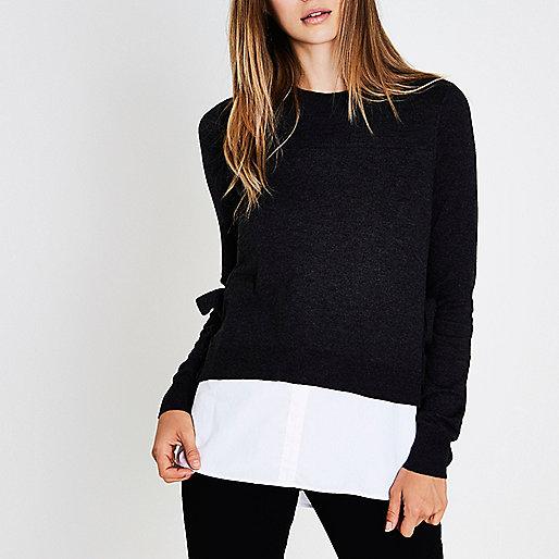 Dark grey knit tie side layered sweater