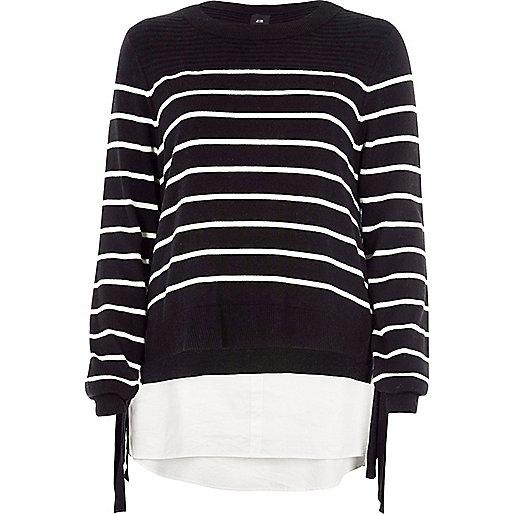 Black stripe knit tie side layered jumper