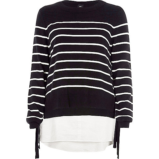 Black stripe knit tie side layered sweater
