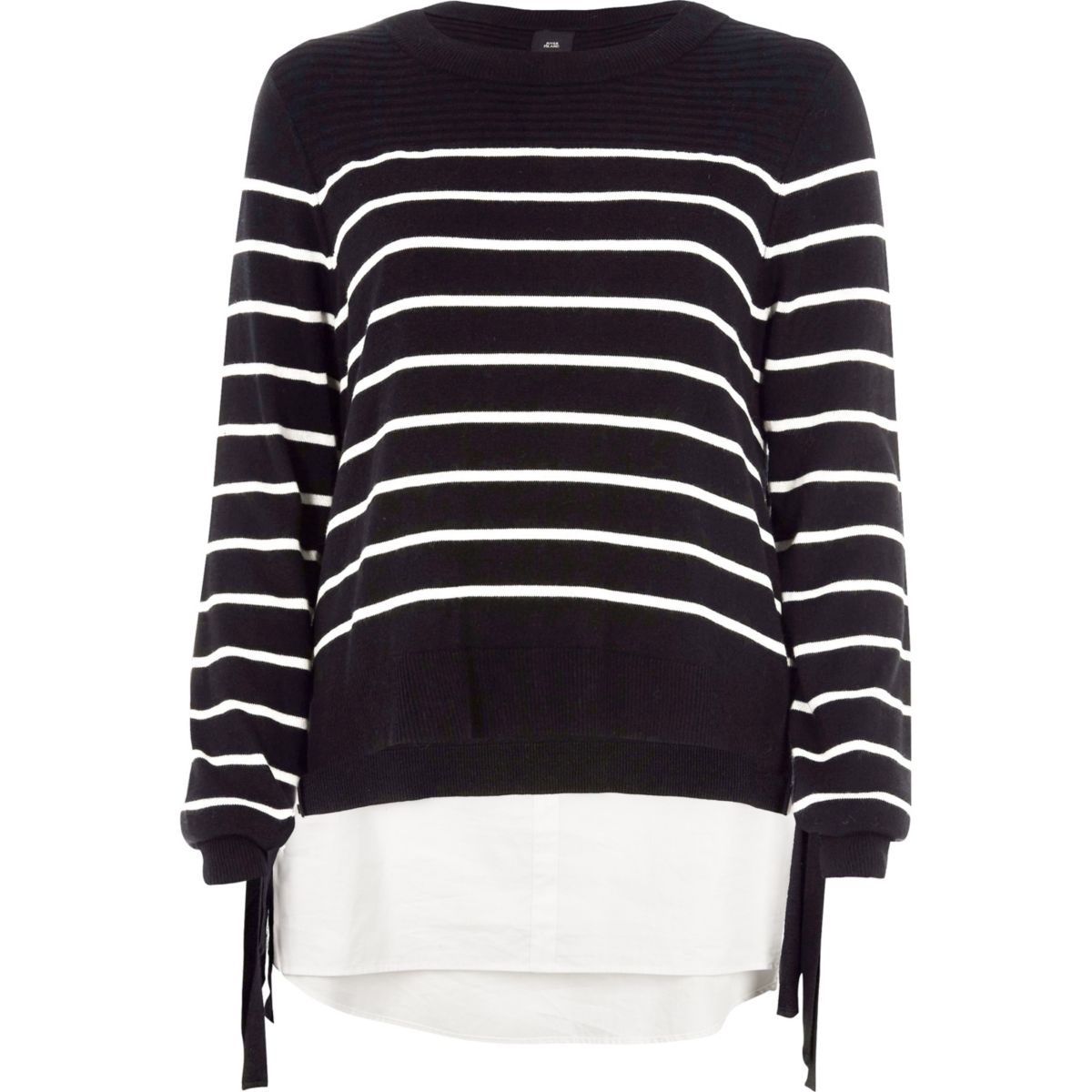 Black stripe knit tie side layered jumper