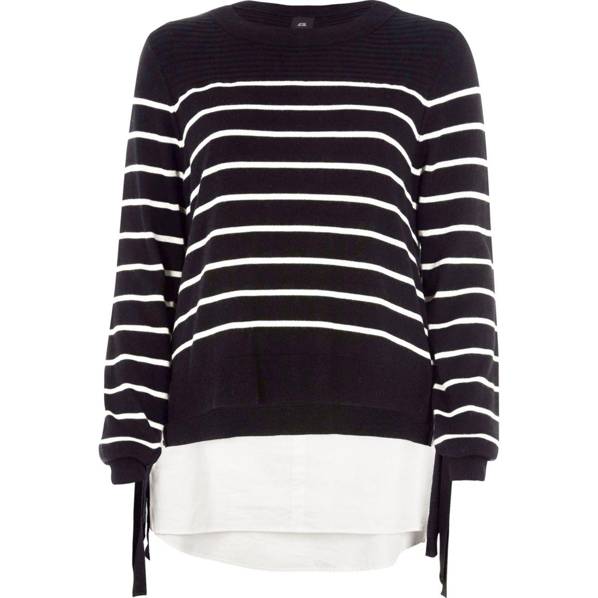 Black stripe knit tie side layered sweater