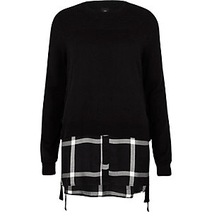 Black tie side sweater check shirt underlay