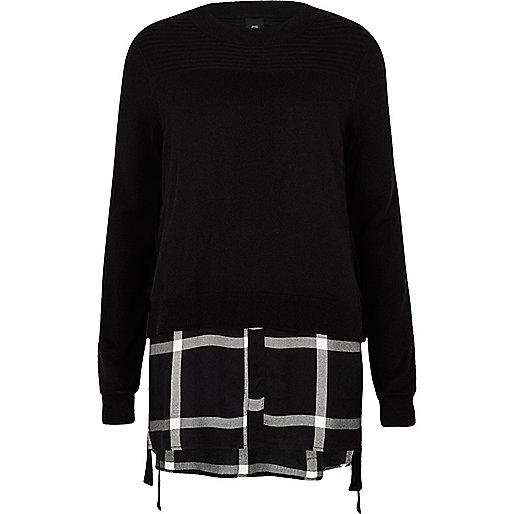 Black tie side sweater check shirt underlay