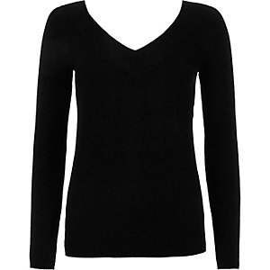 Black rib knit V neck jumper