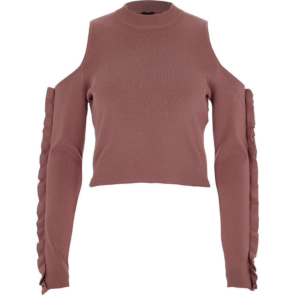 Dark pink cold shoulder ruffle sleeve top