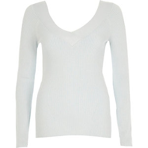 Light blue rib knit V neck fitted top