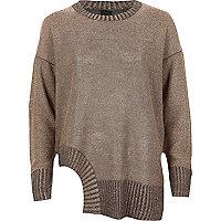 Pullover in Dunkelgrau und Metallic mit Zierausschnitten