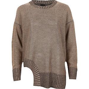 Dark grey and metallic cut out hem sweater