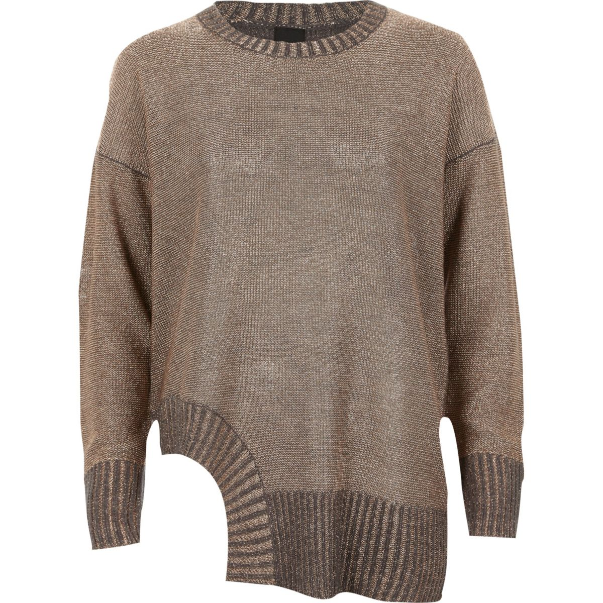 Dark grey and metallic cut out hem jumper
