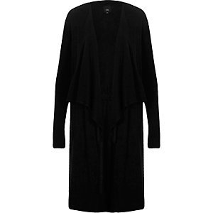 Black fallaway collar longline cardigan